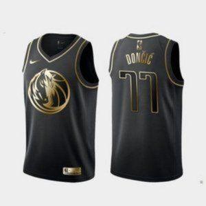 Dallas Mavericks Luka Doncic Black Gold Jersey